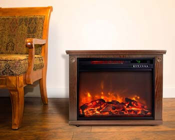 10. Lifesmart Large Room Infrared Quartz Fireplace in Burnished Oak Finish w/Remote