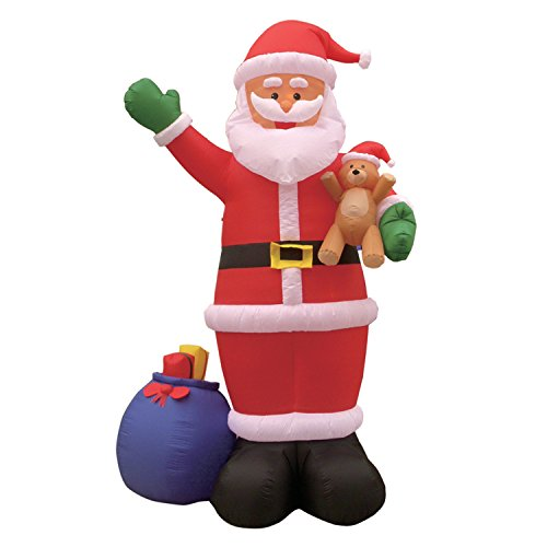 Inflatable Santa Clause with Gift Bag and Bear Garden Decoration