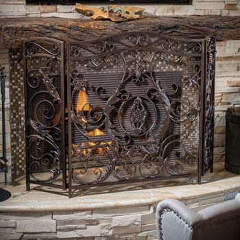 9. Christopher Knight Home Waterbury Fireplace Screen, Gold Flower On Black