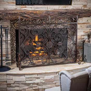 3. Christopher Knight Home Wilmington Fireplace Screen, Gold Flower On Black