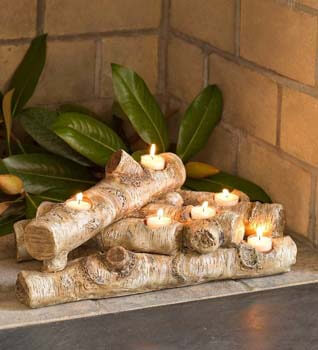 9. Plow & Hearth Faux Wood Resin Logs Tea Lights Candle Holder, Birch