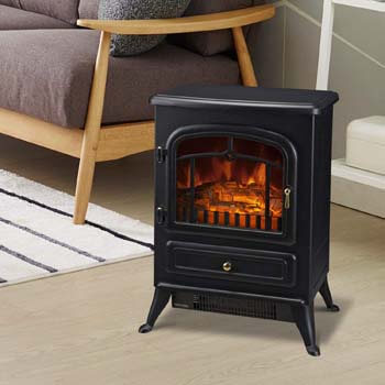 4. HOMCOM Freestanding Electric Fireplace Heater
