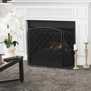 6. Christopher Knight Home Amiyah 3 Panelled Iron Fireplace Screen, Black