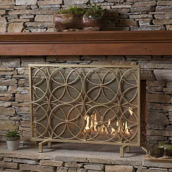4. Christopher Knight Home Valeno Single Panel Iron Fireplace Screen, Gold