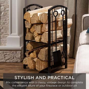 4. Best Choice Products 5-Piece Firewood Log Rack Holder Tools Set