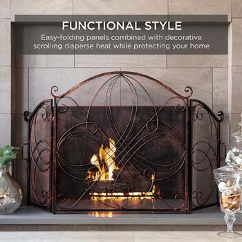 2. Best Choice Products 3-Panel 55x33in Solid Wrought Iron See-Through Metal Fireplace Screen