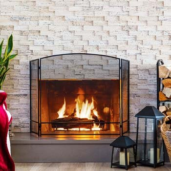 5. Best Choice Products 3-Panel 47x29in Simple Steel Mesh Fireplace Screen