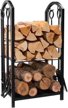 5. DOEWORKS All-In-One Heavy Duty Hearth Firewood Rack