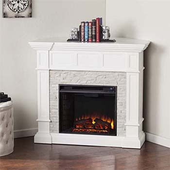2. BOWERY HILL Corner Electric Fireplace in White