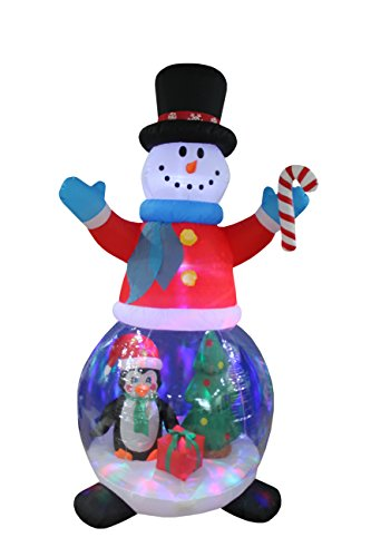 Christmas Inflatable Snowman Globe with Penguins and Gift