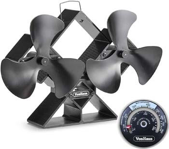 8. VonHaus 6-Blade Twin Motor Double Heat Powered Wood Stove Fan