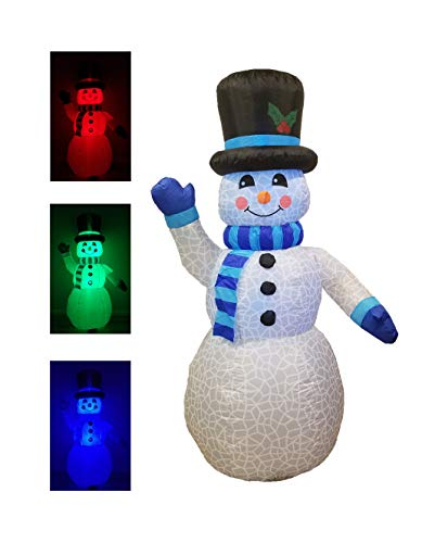 Christmas Inflatable Snowman with Multi-Color LED Lights