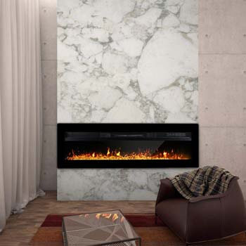 2. Maxhonor 40 Inches Electric Fireplace Insert Wall Mounted Freestanding Heater