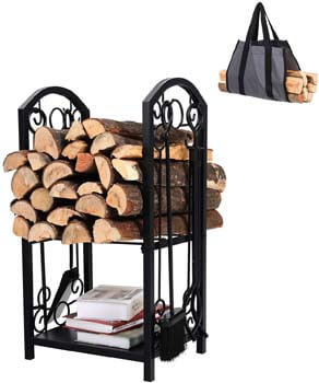 10. PHI VILLA All-In-One Heavy Duty Hearth Indoor/Outdoor Firewood Rack