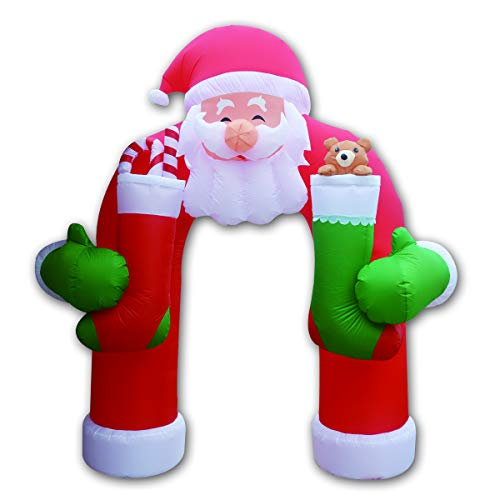 GOOSH Inflatable Santa Clause Archway with Teddy Sugar Cane