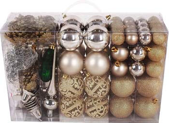 4. BRUBAKER 102 Pack Assorted Christmas Ball Ornaments