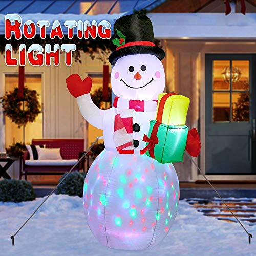 AERWO Inflatable Snowman with Rotating LED Lights