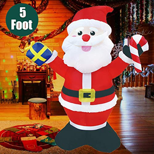 KYERIVS Inflatable Santa Claus Holding a Gift Box with a Candy Cane