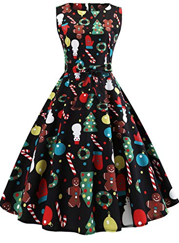 Sleeveless Vintage Cocktail Dress with Holiday Prints