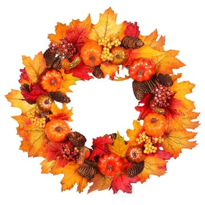 Fall Wreath, 18-inch Artificial Fall Wreath for Front Door, Christmas Wreaths