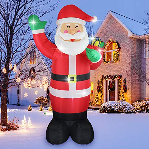 SHINYDEC Inflatable Santa Clause with Bag Lights and Gift