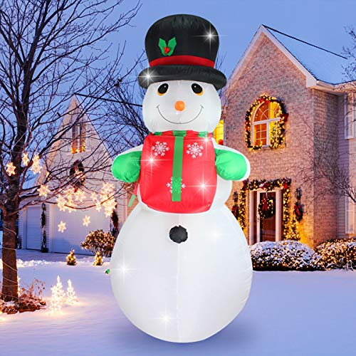 SHINYDEC Christmas Inflatable Snowman with Gift